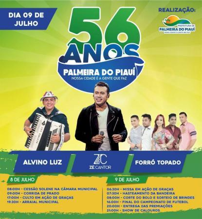 Prefeitura de Palmeira divulga programação para o seu 56º aniversário