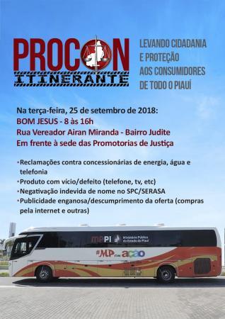 Ônibus do PROCON Itinerante estará atendendo em Bom Jesus
