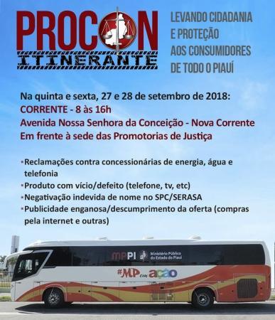 Ônibus do PROCON Itinerante estará atendendo na cidade de Corrente