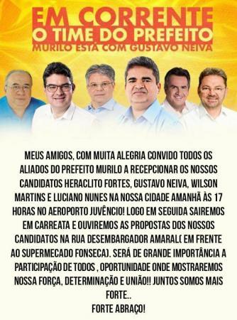 Time do Prefeito: Murilo convida aliados para recepcionarem seus candidatos