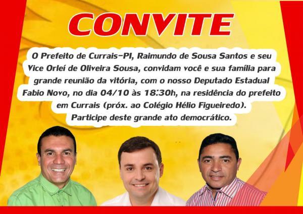 Prefeito de Currais convida população para reunião com Fábio Novo.
