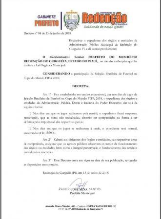 Município de Redenção terá expediente alterado nos dias de jogos do Brasil