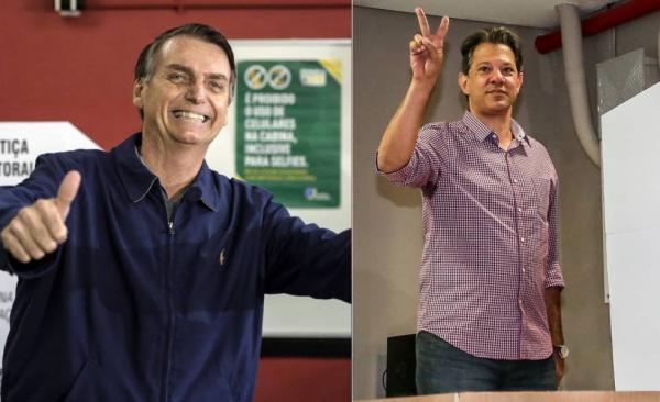 Bolsonaro e Haddad decidirão eleição para presidente no segundo turno