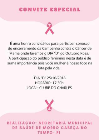 Dia D contra o Câncer de Mama será realizado no Morro Cabeça no Tempo