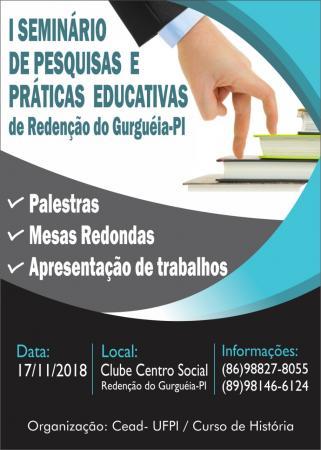 I Seminário de Pesquisas e Práticas Educativas acontecerá em Redenção do Gurguéia