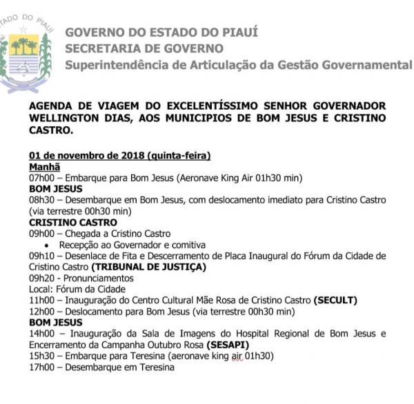 O governador W.Dias cumprirá agenda em Cristino e Bom Jesus