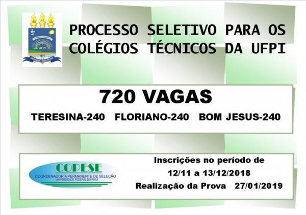 Inscrições abertas para o Processo Seletivo do Colégio Técnico de Bom Jesus
