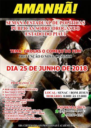 Palestra: 'Drogas o começo do fim', será nesta segunda dia 25 em Bom Jesus