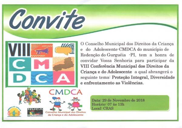 Redenção: Convite para VIII Conferência dos Direitos da Criança e do Adolescente