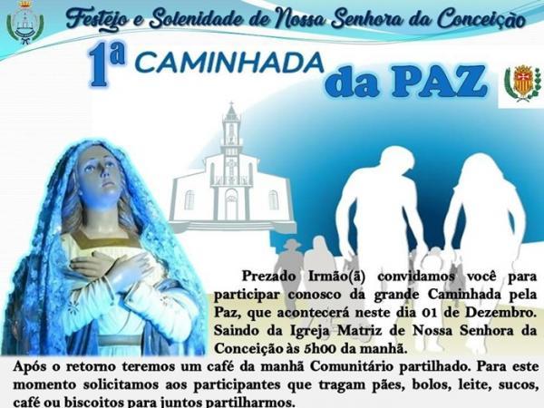 Igreja Nª Sra da Conceição de Corrente realizará 1 ª caminhada da Paz
