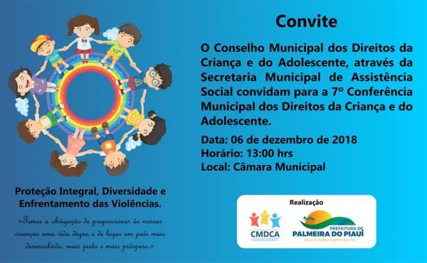 Palmeira do PI realizará a 7ª Conferência Municipal dos Direitos da Criança e do Adolescente