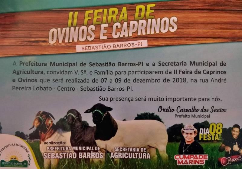 2ª Feira de Ovinos e Caprinos será realizada em Sebastião Barros
