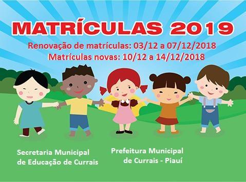 Educação de Currais inicia as matrículas da rede municipal de ensino
