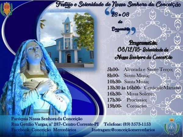 Corrente encerra hoje (08), o festejo de Nossa Senhora da Conceição