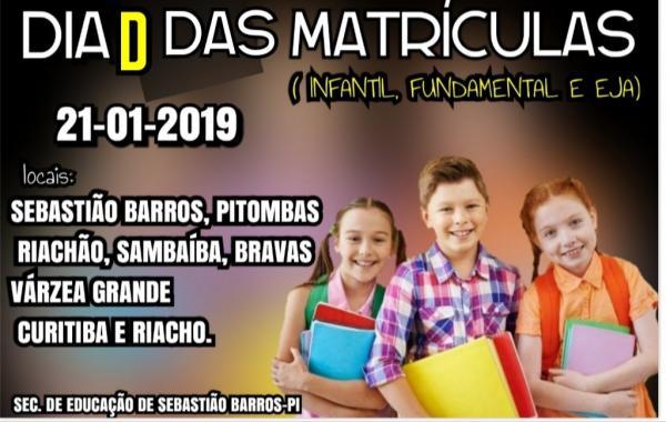 Sebastião Barros realizará dia D das matriculas para a rede municipal