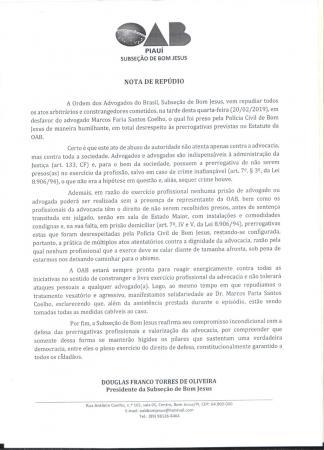 OAB publica Nota de Repúdio contra prisão de advogado em Bom Jesus
