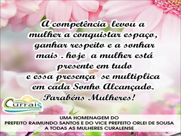 Mulheres de Currais-PI: Mensagem do prefeito Raimundo Santos