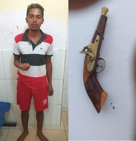 Agressor da menor e arma de fogo apreendida em ação realizada pela PM. Fotos: Divulgação/PM