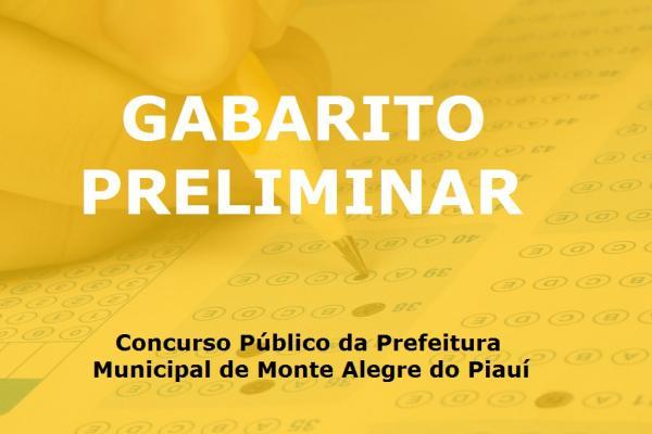 Gabarito preliminar do concurso público de Monte Alegre.