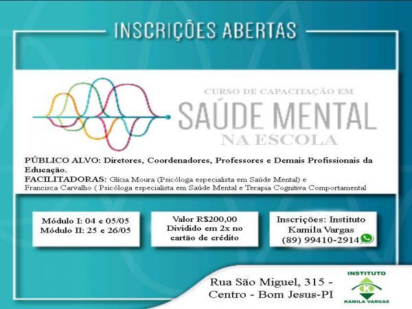 Instituto Kamila Vargas: Inscrições abertas para o curso Saúde Mental na Escola