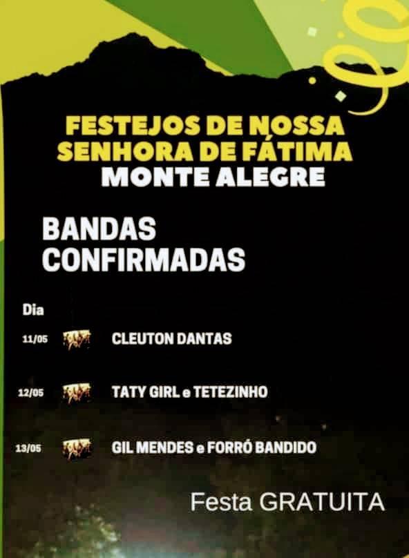 Três dias de festa em praça pública agitarão festejos de Monte Alegre-Pi