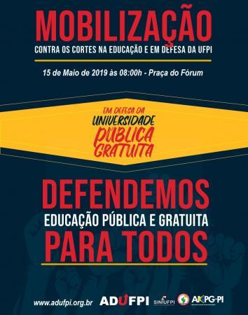 ADUFPI realizará em Bom Jesus mobilização contra cortes na Educação