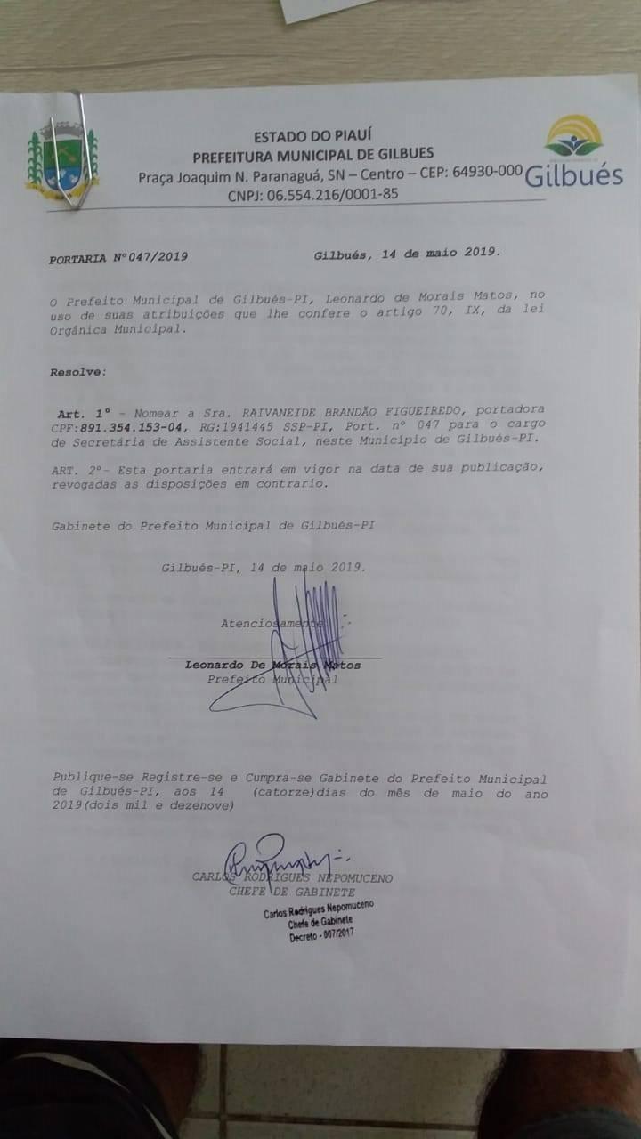 Gilbués: Prefeito Léo Matos nomeia três novos secretários