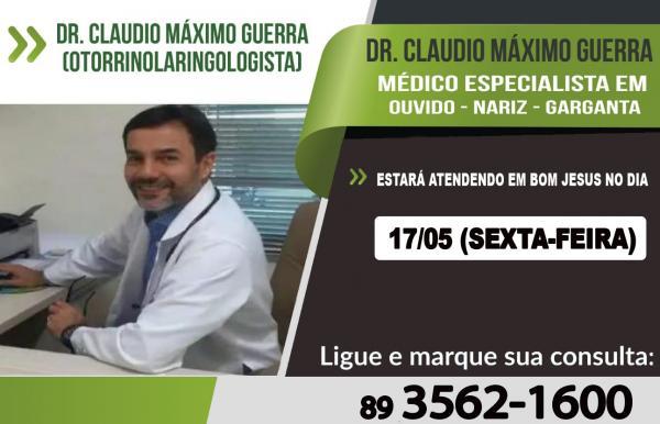 Dr. Claudio Máximo Guerra estará atendendo em Bom Jesus  nesta sexta (17)