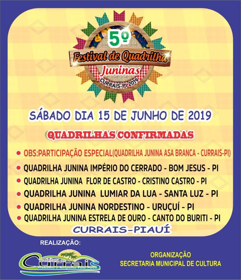 Festival Junino de Currais terá R$ 8 mil em premiações