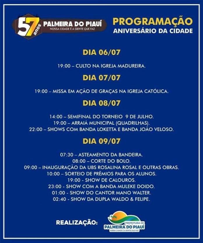 Prefeitura de Palmeira divulga programação do 57º aniversário