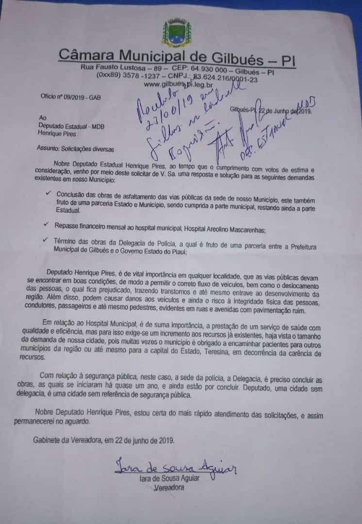 Deputado Henrique Pires cobra conclusões de obras em Gilbués
