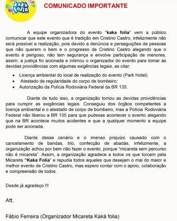PRF não libera BR-135 e Kaká Folia é cancelado