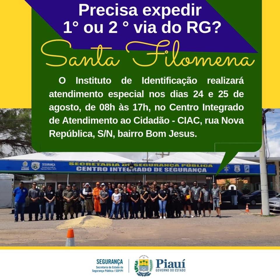 Expedição de RG e programação esportiva nos festejos de Santa Filomena