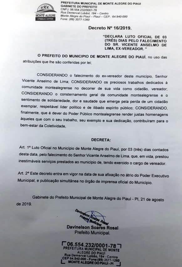Ex-vereador Vicente Anselmo morre aos 97 anos