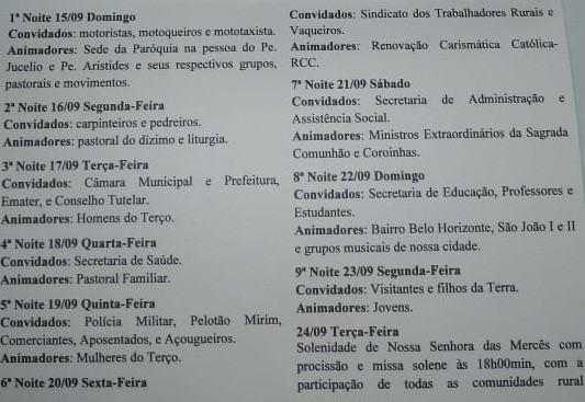 Programação para os Festejos da Padroeira de Avelino Lopes