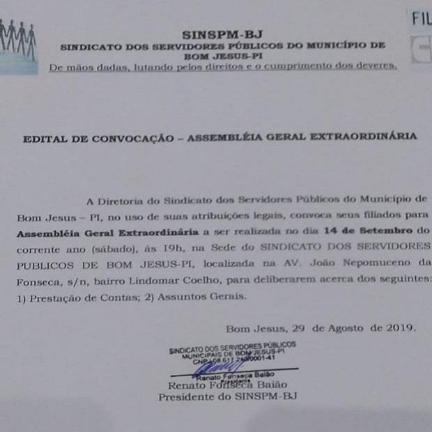 Convite do Sindicato dos Servidores Públicos do Município de Bom Jesus.