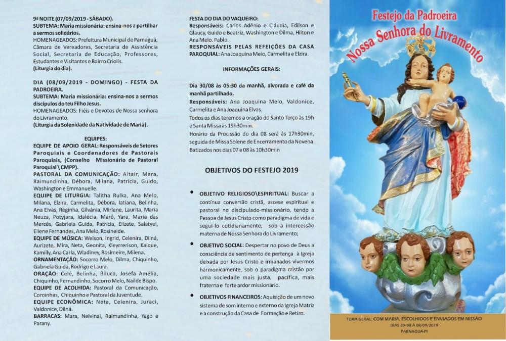Festejo de N. Sr.ª do Livramento está sendo realizado em Parnaguá
