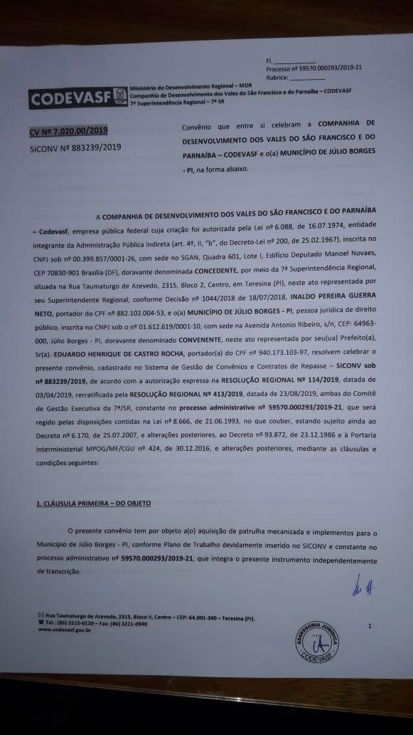 Convênio de uma Patrulha Mecanizada para a região do Veredão