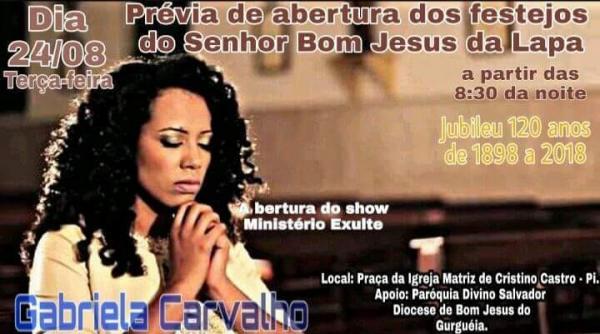 Show católico fará prévia de abertura dos festejos de Cristino Castro