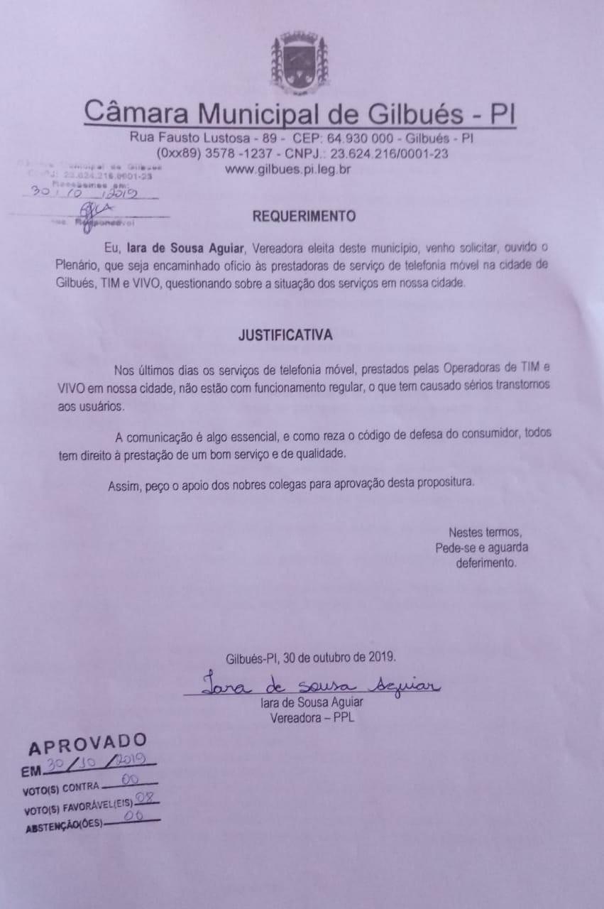 Gilbués: Vereadora Iara apresenta 2 requerimentos em sessão ordinária