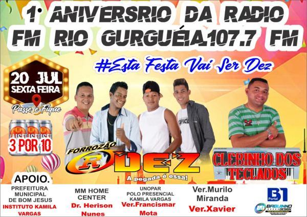 Hoje tem aniversário de 1 ano da Rádio FM Rio Gurgueia/Bom Jesus
