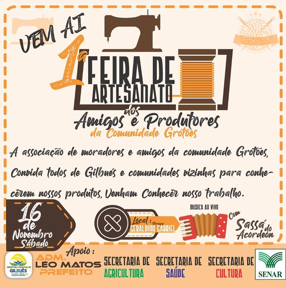 Convite: 1° Feira de Artesanato dos Produtores e Amigos dos Grotões em Gilbués