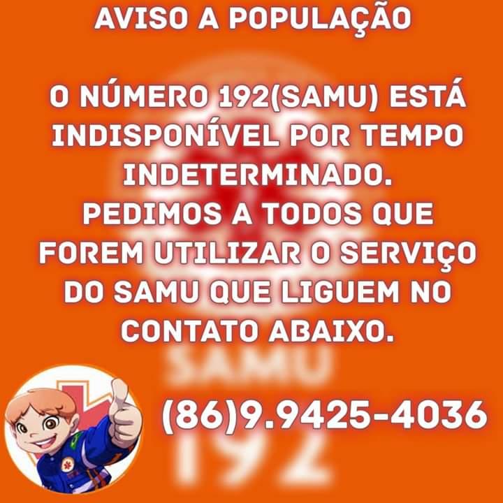 SAMU Estadual disponibiliza número temporário para atender população