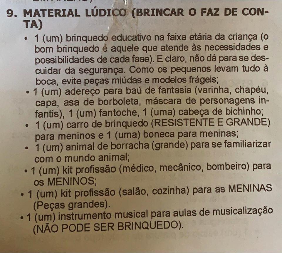 'Dom Barreto' polemiza ao exigir 'kit médico' para meninos e 'kit cozinha' para meninas