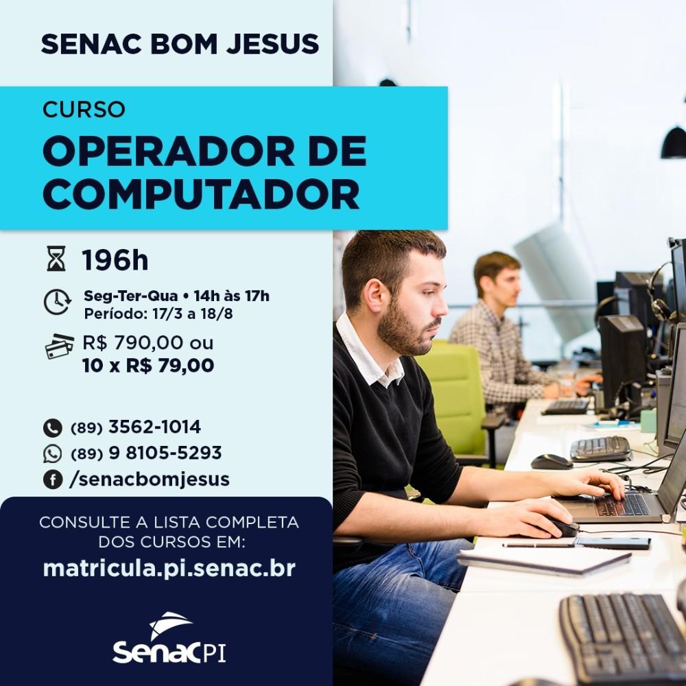 Veja cursos com inscrições abertas no Senac de Bom Jesus