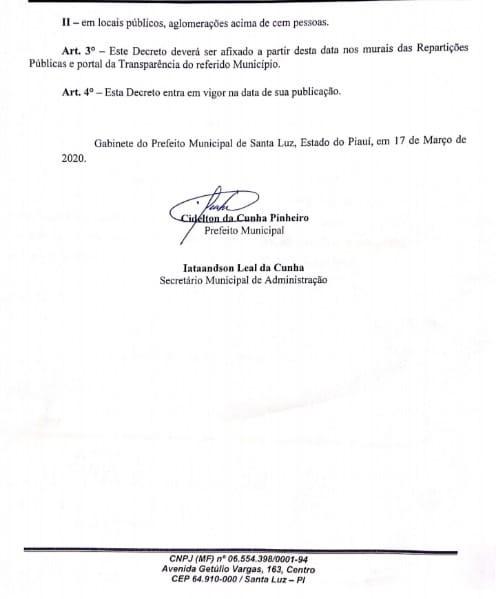 Aulas Suspensas por 15 dias na cidade de Santa Luz-PI