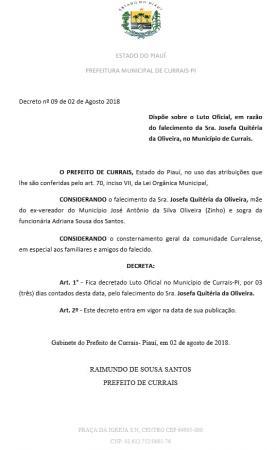 Prefeitura municipal decreta luto oficial em Currais