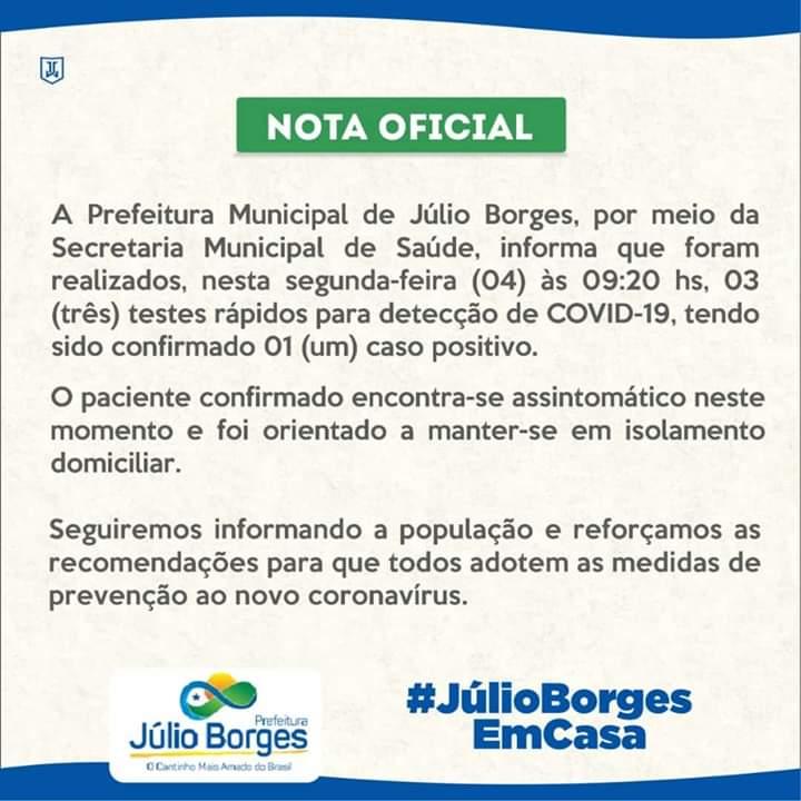 Confirmado o segundo caso de Covid-19 em Júlio Borges