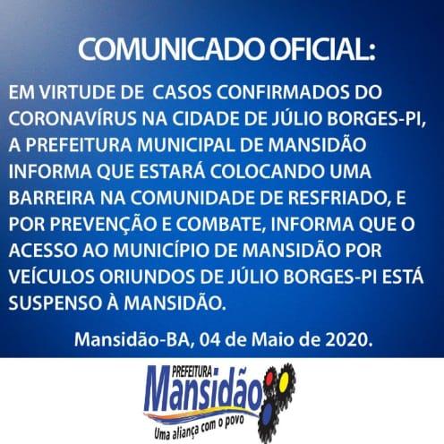 Município de Mansidão-BA fecha divisa com Júlio Borges-PI