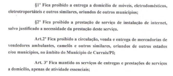 Raimundo Santos proíbe entrega de produtos em domicílios de Currais
